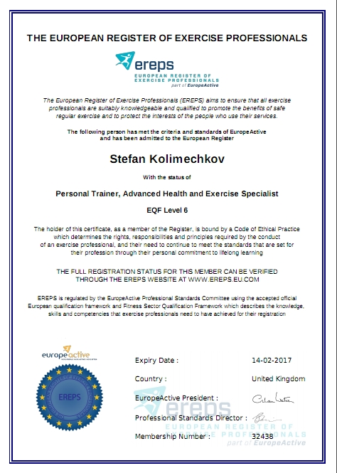 1b45285a2aa ... EREPS Personal Trainer Level 6 Certificate ...
