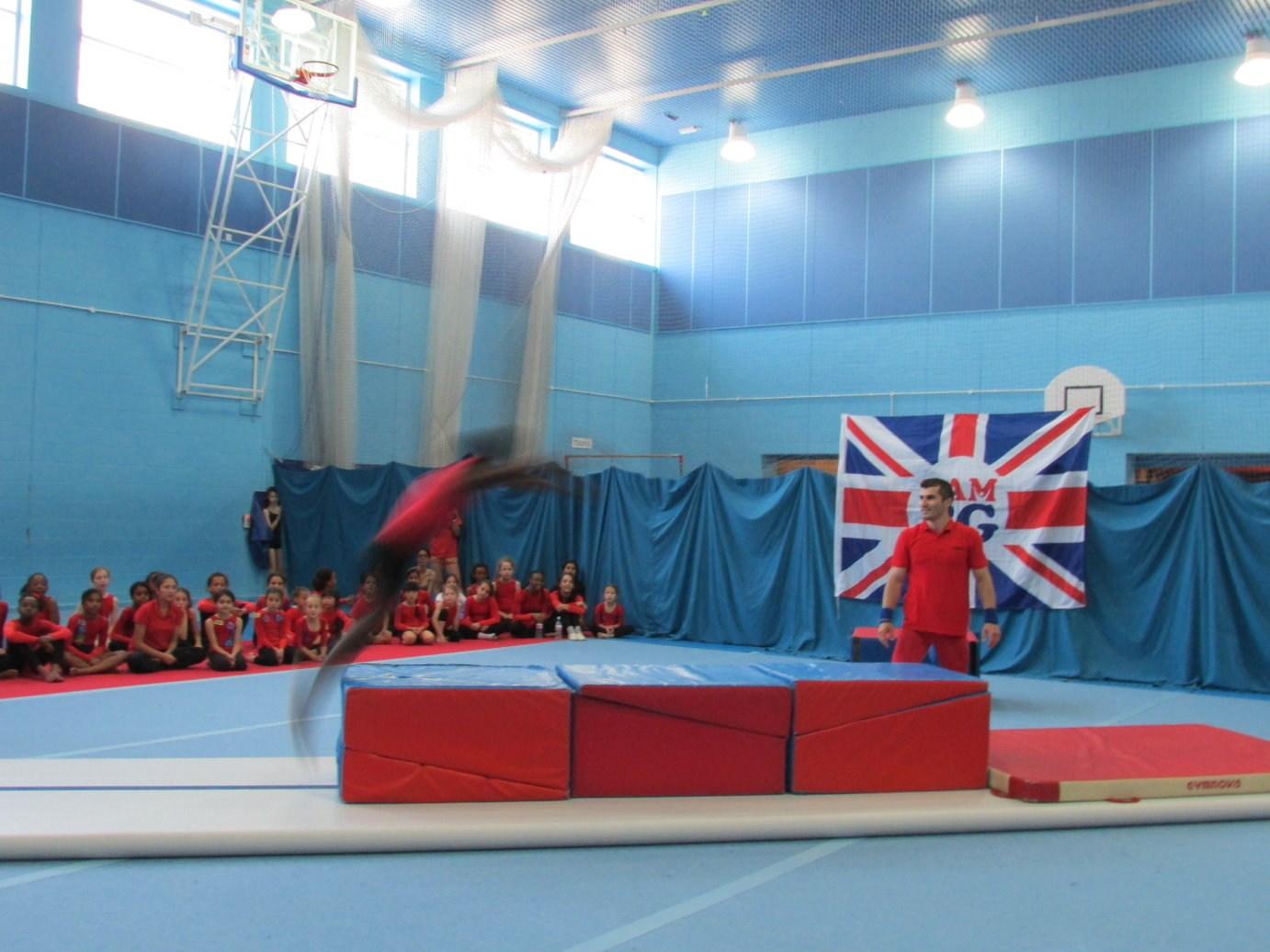 Front Tucked somersault over 3 boxes