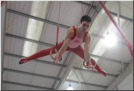 Straddle planch on Rings in Gymnastics