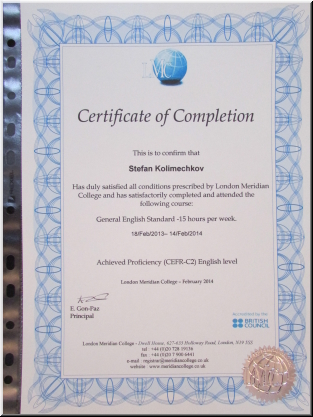 Certificate - London Meridian College