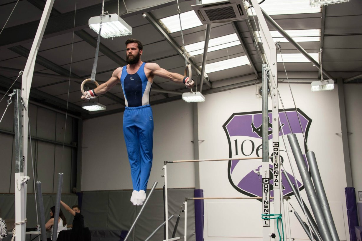 Tim on Rings at the 1066 Gymnastics Academy 2015