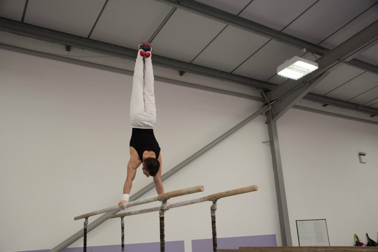 Stef on Parallel Bars at the 1066 Gymnastics Academy in England 2015
