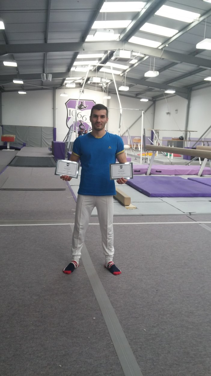 Stefan was awarded Certificates for the highest scores on Floor and Rings by the 1066 Gymnastics Academy