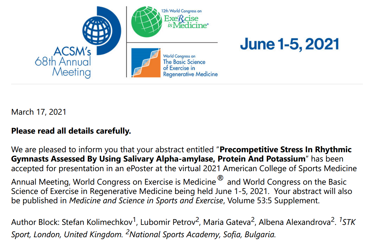 Dr Stefan Kolimechkov is accepted to present at the ACSM Annual Meeting in 2021