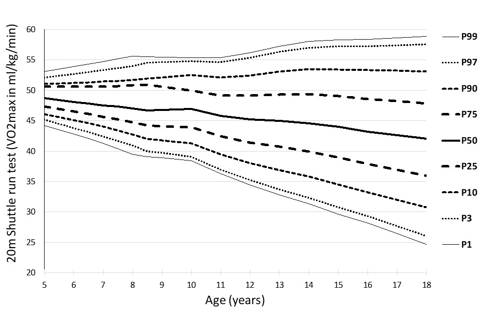 Physical Fitness Norms for the maximum oxygen uptake in Boys