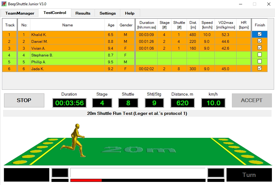 Beep test software with audio and visual animation